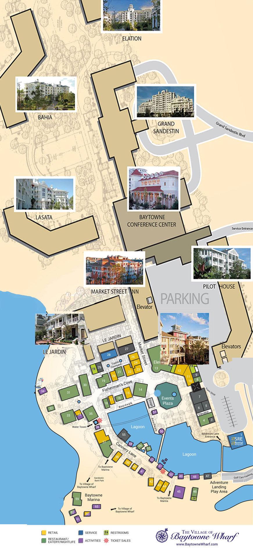Village Map | The Village of Baytowne Wharf | Located in Sandestin ...